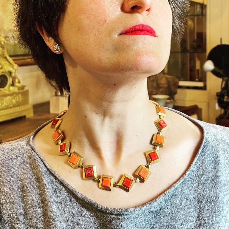 Women's or Men's Yves Saint Laurent YSL 1980s Vintage Gilt and Resin Fashion Never Used Necklace  For Sale