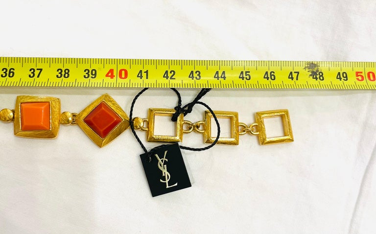 Yves Saint Laurent YSL 1980s Vintage Gilt and Resin Fashion Never Used Necklace  For Sale 1