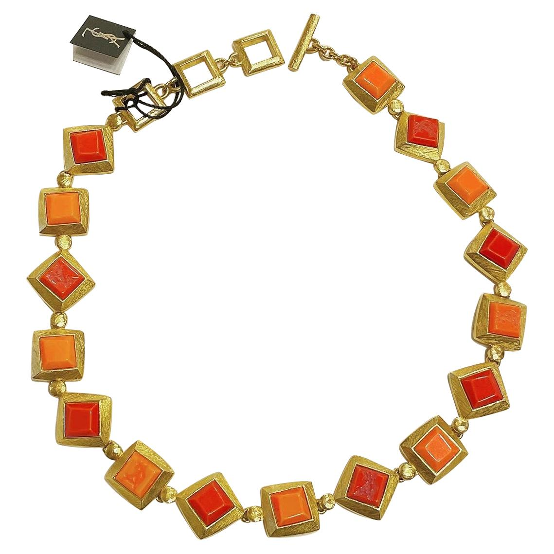 Yves Saint Laurent YSL 1980s Vintage Gilt and Resin Fashion Never Used Necklace