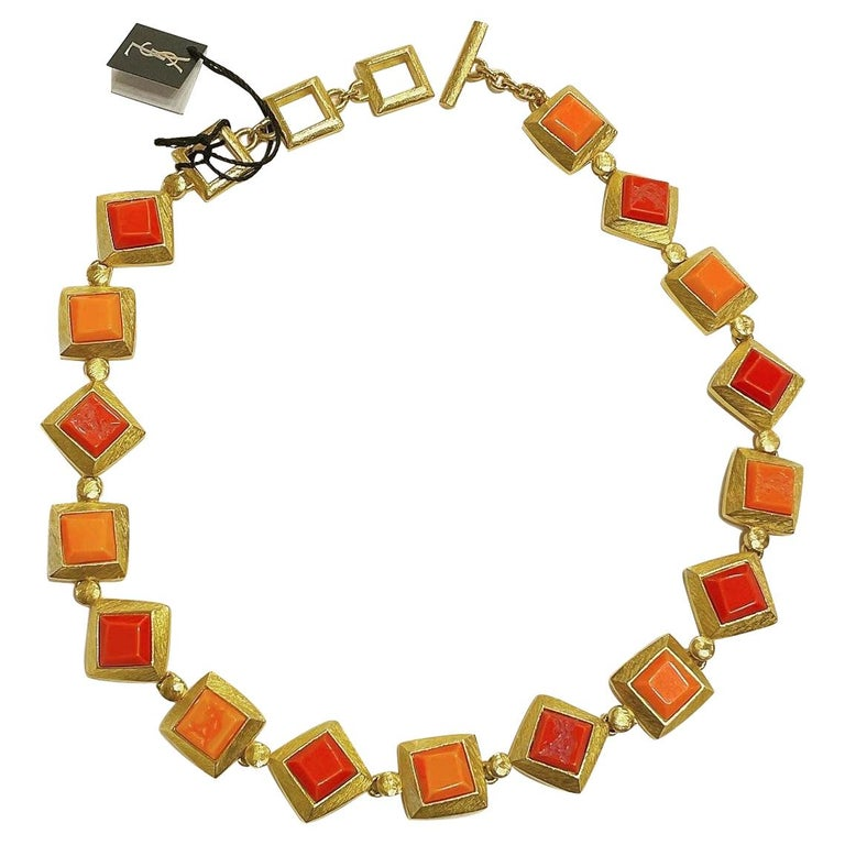 Yves Saint Laurent YSL 1980s Vintage Gilt and Resin Fashion Never Used Necklace  For Sale