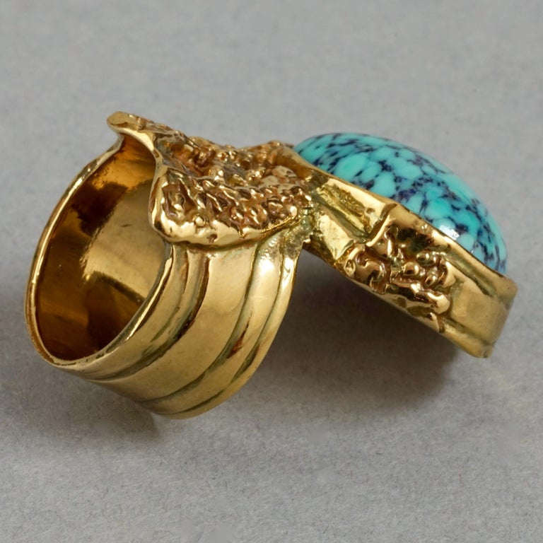 YVES SAINT LAURENT YSL Arty Turquoise Ring In Excellent Condition For Sale In Kingersheim, Alsace