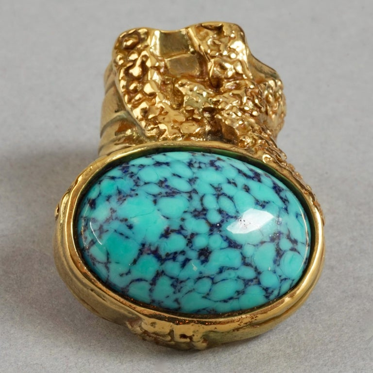 YVES SAINT LAURENT YSL Arty Turquoise Ring For Sale 1