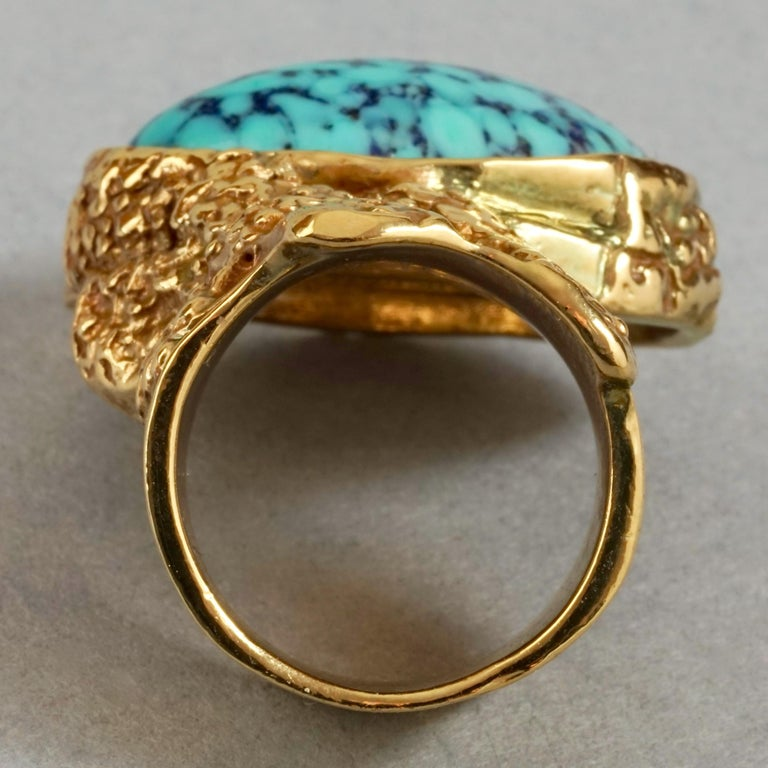 YVES SAINT LAURENT YSL Arty Turquoise Ring For Sale 2