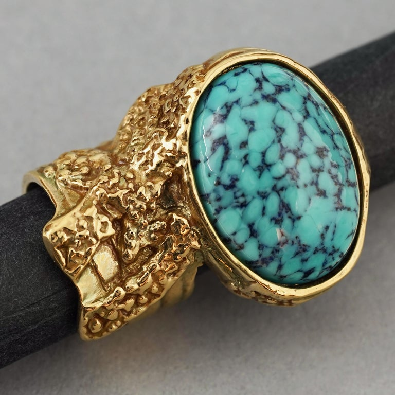YVES SAINT LAURENT YSL Arty Turquoise Ring For Sale 3