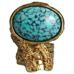 YVES SAINT LAURENT YSL Arty Turquoise Ring