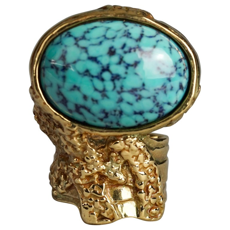 YVES SAINT LAURENT YSL Arty Turquoise Ring For Sale