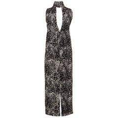 Yves Saint Laurent YSL Black and White Silk Print High Neck Evening Dress, 1985