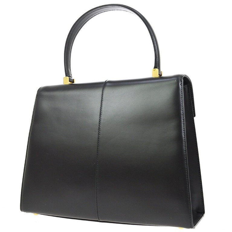 Yves Saint Laurent Ysl Black Leather Top Handle Kelly