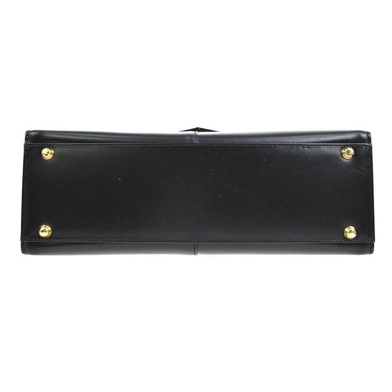 Women's Yves Saint Laurent YSL Black Leather Top Handle Kelly Style Satchel Flap Bag
