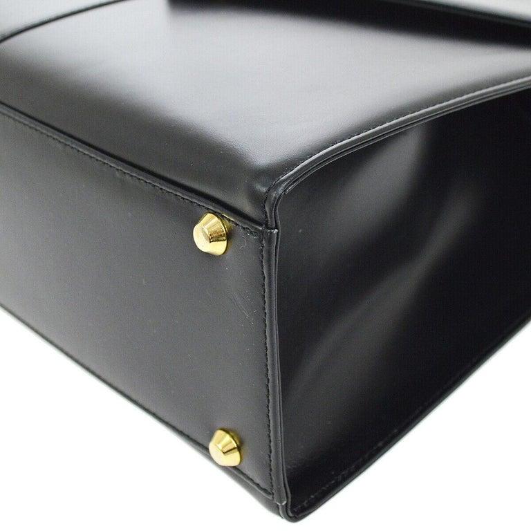 Yves Saint Laurent YSL Black Leather Top Handle Kelly Style Satchel Flap Bag 1