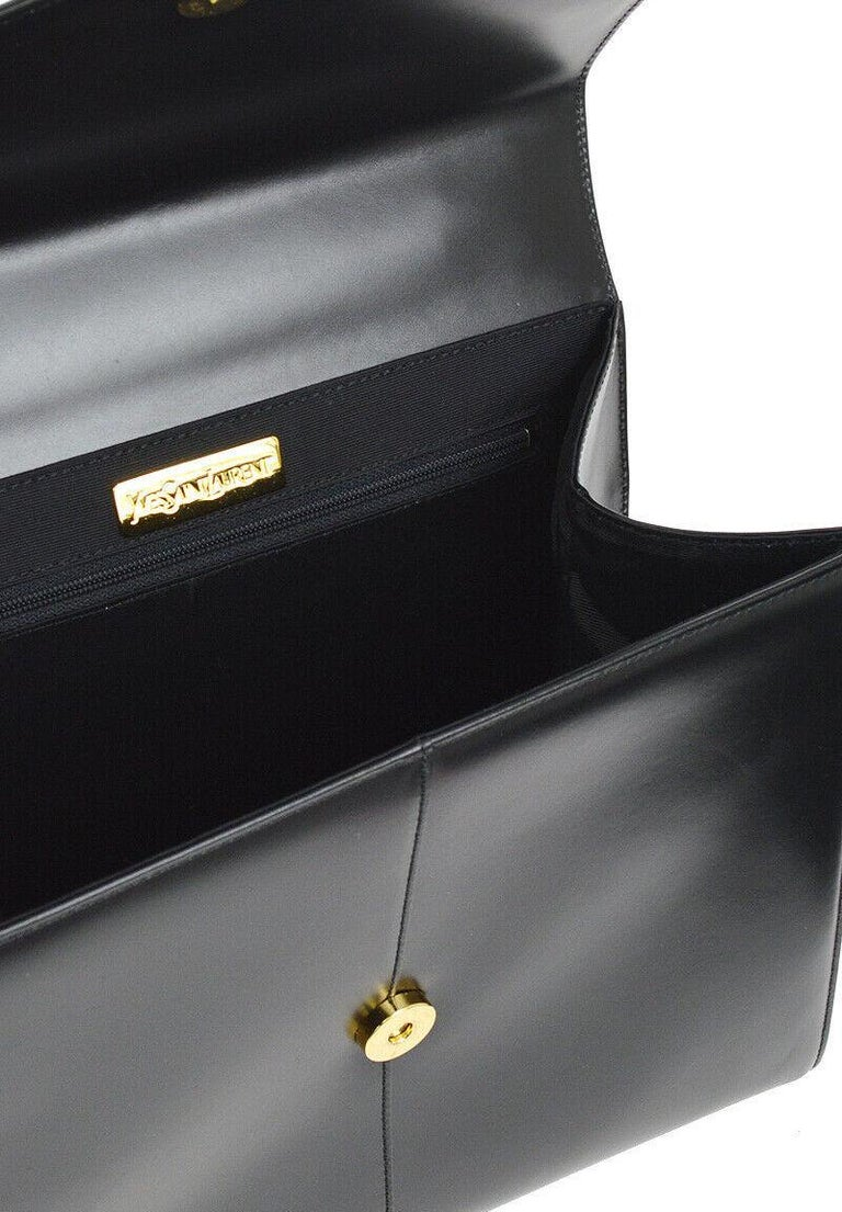 Yves Saint Laurent YSL Black Leather Top Handle Kelly Style Satchel Flap Bag 2
