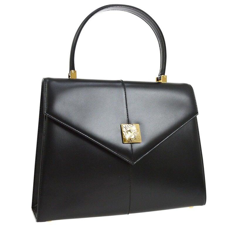 Yves Saint Laurent YSL Black Leather Top Handle Kelly Style Satchel Flap Bag