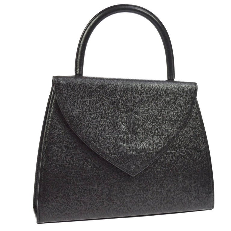 Yves Saint Laurent YSL Black Leather Top Handle Kelly Style Satchel Flap Bag