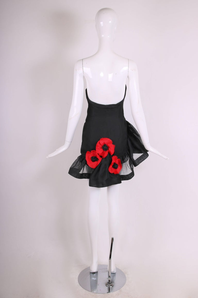 Yves Saint Laurent YSL Black Strapless Gazar Mini Cocktail Dress ...