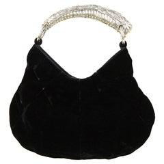 Yves Saint Laurent YSL Black Velvet Small Mombasa Evening Bag