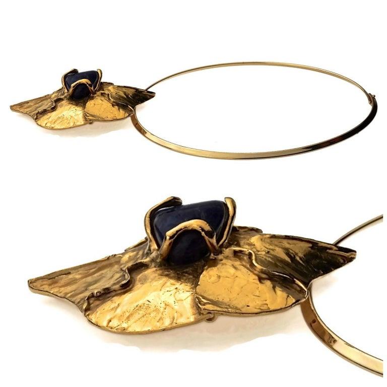 YVES SAINT LAURENT Ysl by Robert Goossens Caged Lapis Lazuli Pendant Necklace For Sale 1