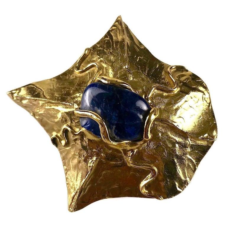 YVES SAINT LAURENT Ysl by Robert Goossens Caged Lapis Lazuli Pendant Necklace For Sale 4