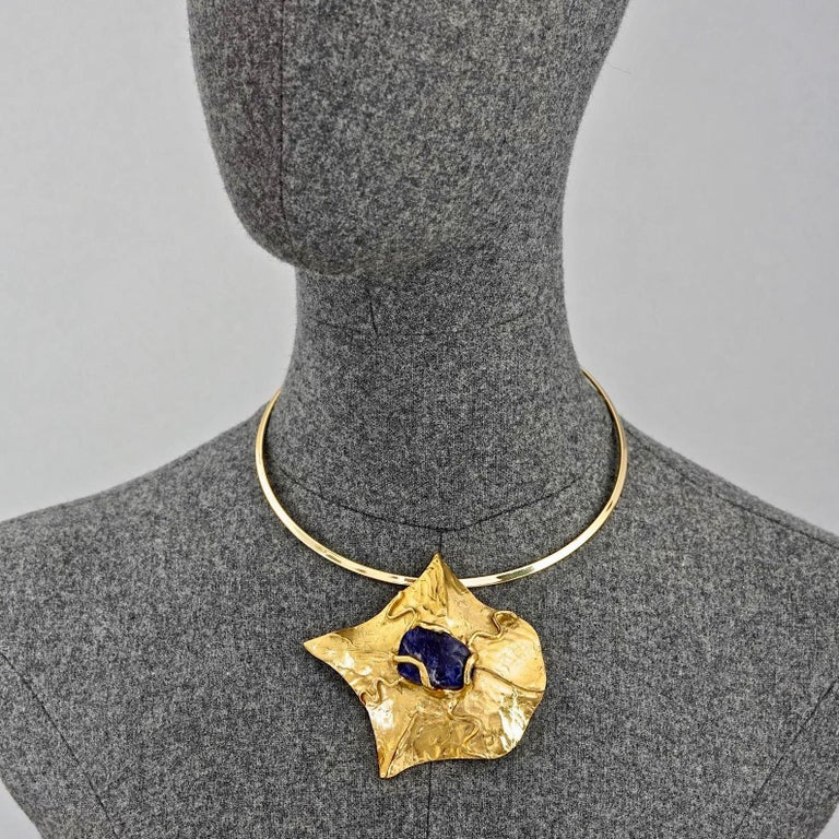 YVES SAINT LAURENT Ysl by Robert Goossens Caged Lapis Lazuli Pendant Necklace For Sale 5
