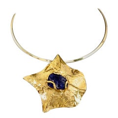 YVES SAINT LAURENT Ysl by Robert Goossens Caged Lapis Lazuli Pendant Necklace