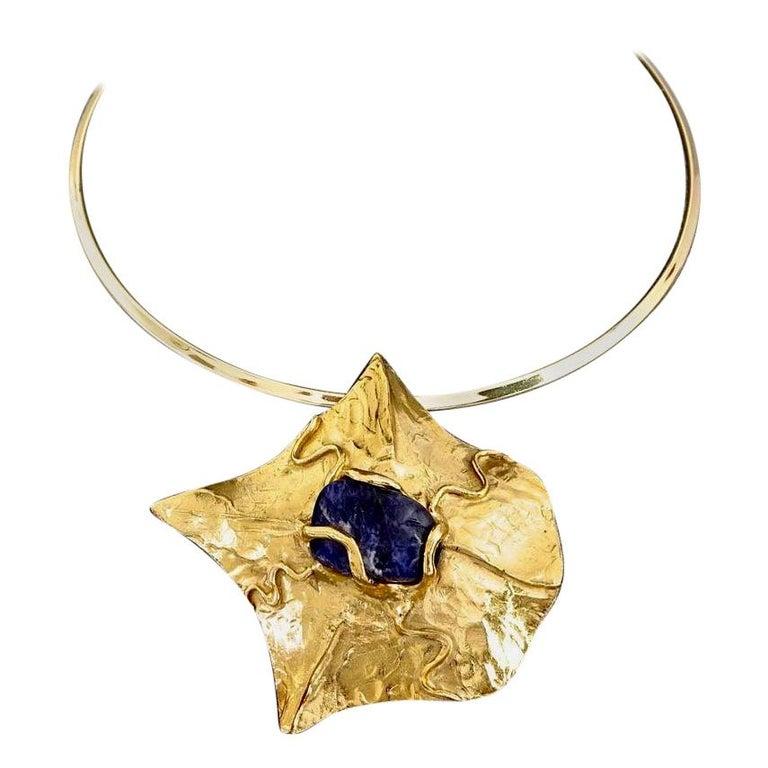 YVES SAINT LAURENT Ysl by Robert Goossens Caged Lapis Lazuli Pendant Necklace For Sale