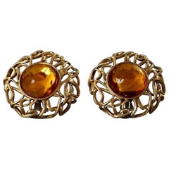 YVES SAINT LAURENT Ysl by Robert Goossens Citrine Cabochon Wire Cage Earrings