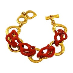 YVES SAINT LAURENT Ysl by Robert Goossens Coral Branch Overlay Chain Bracelet