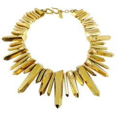 Yves Saint Laurent YSL by Robert Goossens Gold Toned Rock Crystal Prism Necklace