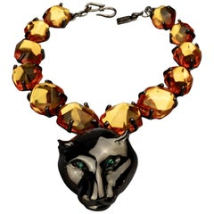 YVES SAINT LAURENT Ysl by Robert Goossens Massive Jewelled Panther Head Necklace