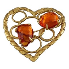 YVES SAINT LAURENT Ysl by Robert Goossens Openwork Heart Amber Resin Brooch
