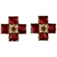 YVES SAINT LAURENT Ysl by Robert Goossens Red Enamel Cross Rhinestone Earrings