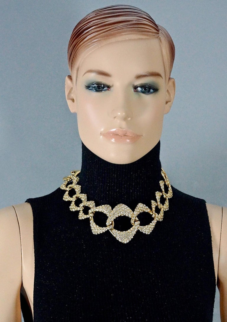 Vintage YVES SAINT LAURENT Ysl by Robert Goossens Rhinestone Chain Choker Necklace  Measurements: Height: 2.16 inches (5.5 cm) Wearable Length: 18.30 inches (46.5 cm) to 20.07 inches (51 cm)  Features: - 100% Authentic YVES SAINT LAURENT by Robert