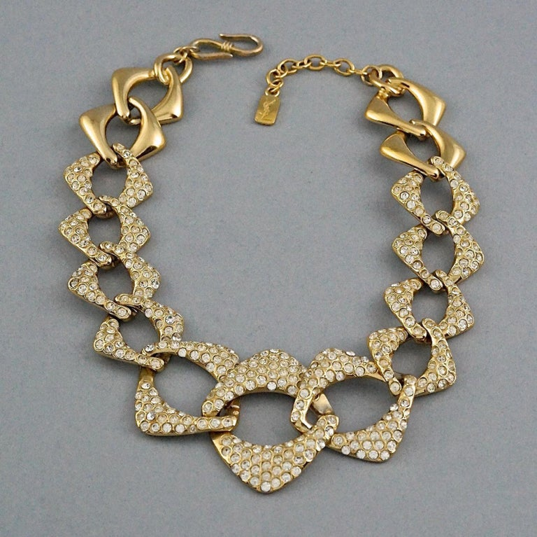 YVES SAINT LAURENT Ysl by Robert Goossens Rhinestone Chain Choker Necklace For Sale 1