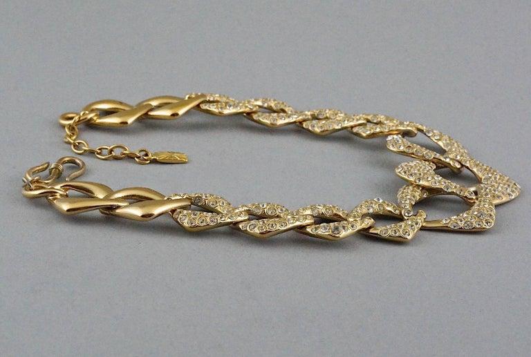 YVES SAINT LAURENT Ysl by Robert Goossens Rhinestone Chain Choker Necklace For Sale 3