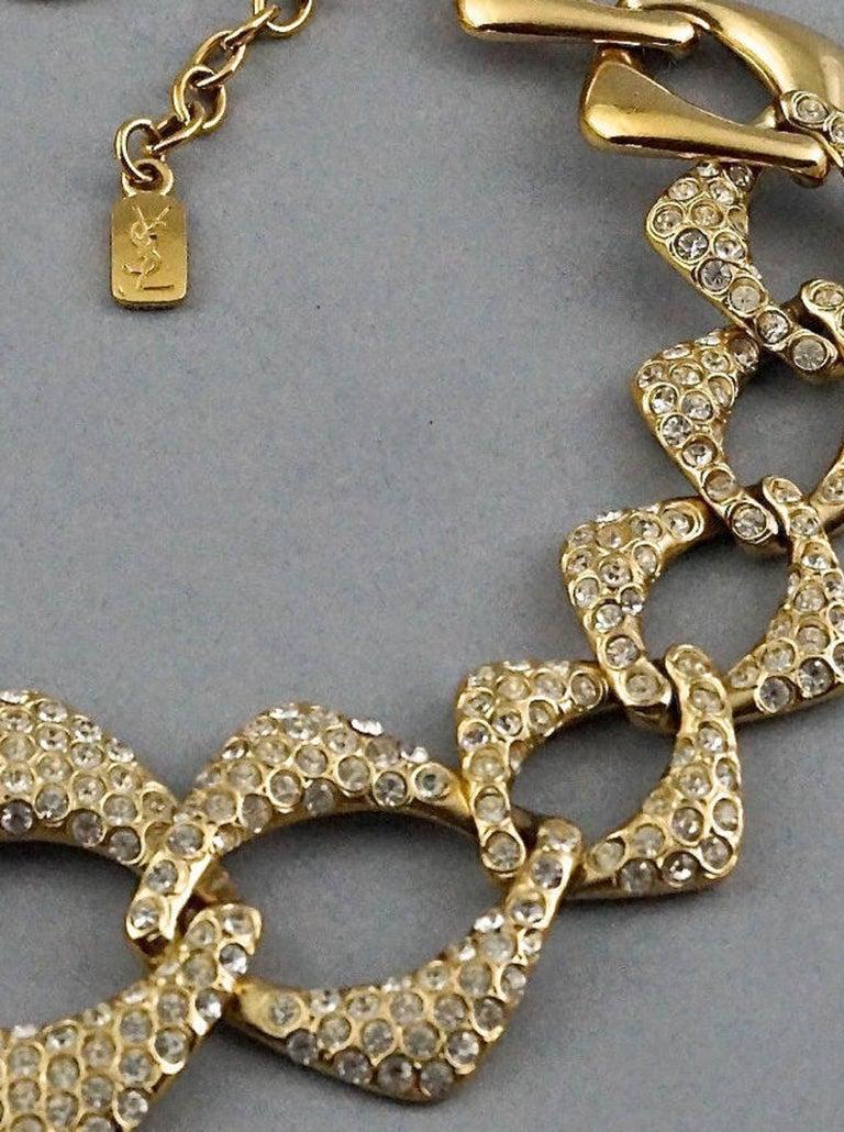 YVES SAINT LAURENT Ysl by Robert Goossens Rhinestone Chain Choker Necklace For Sale 5