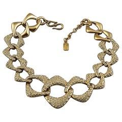 YVES SAINT LAURENT Ysl by Robert Goossens Rhinestone Chain Choker Necklace