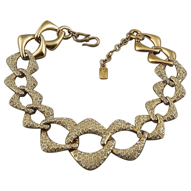 YVES SAINT LAURENT Ysl by Robert Goossens Rhinestone Chain Choker Necklace For Sale