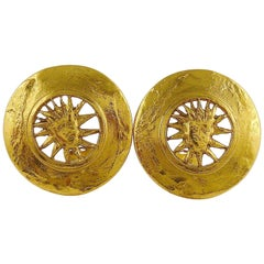 Yves Saint Laurent YSL Vintage Sun Face Disc Clip On Earrings