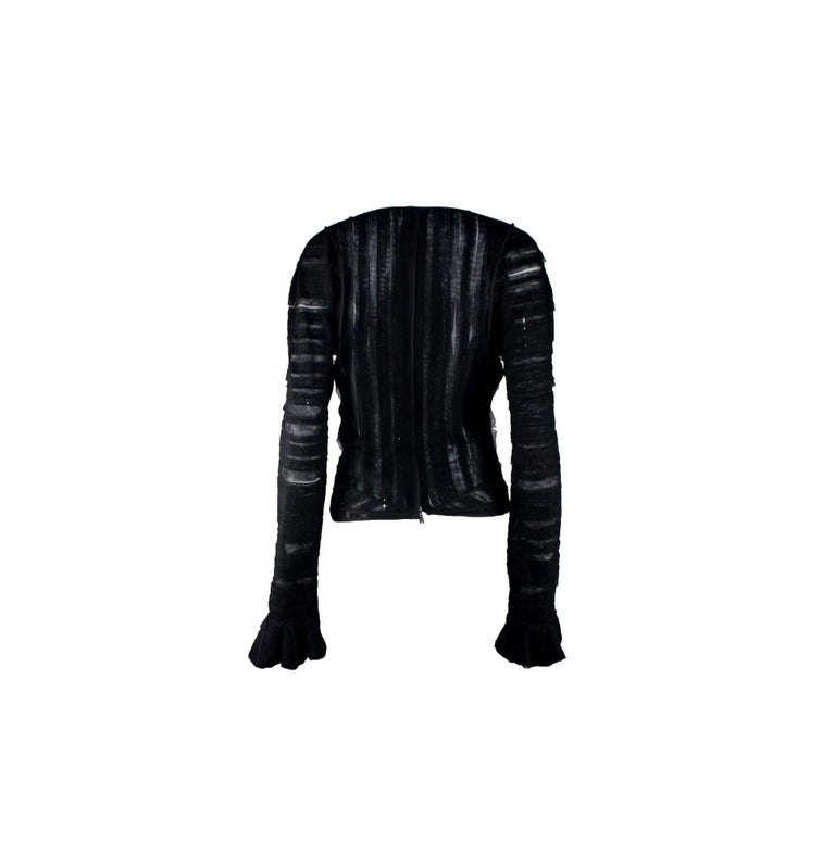 Women's Yves Saint Laurent YSL by Tom Ford 2002 Black Tulle Silk Layer Jacket Top For Sale