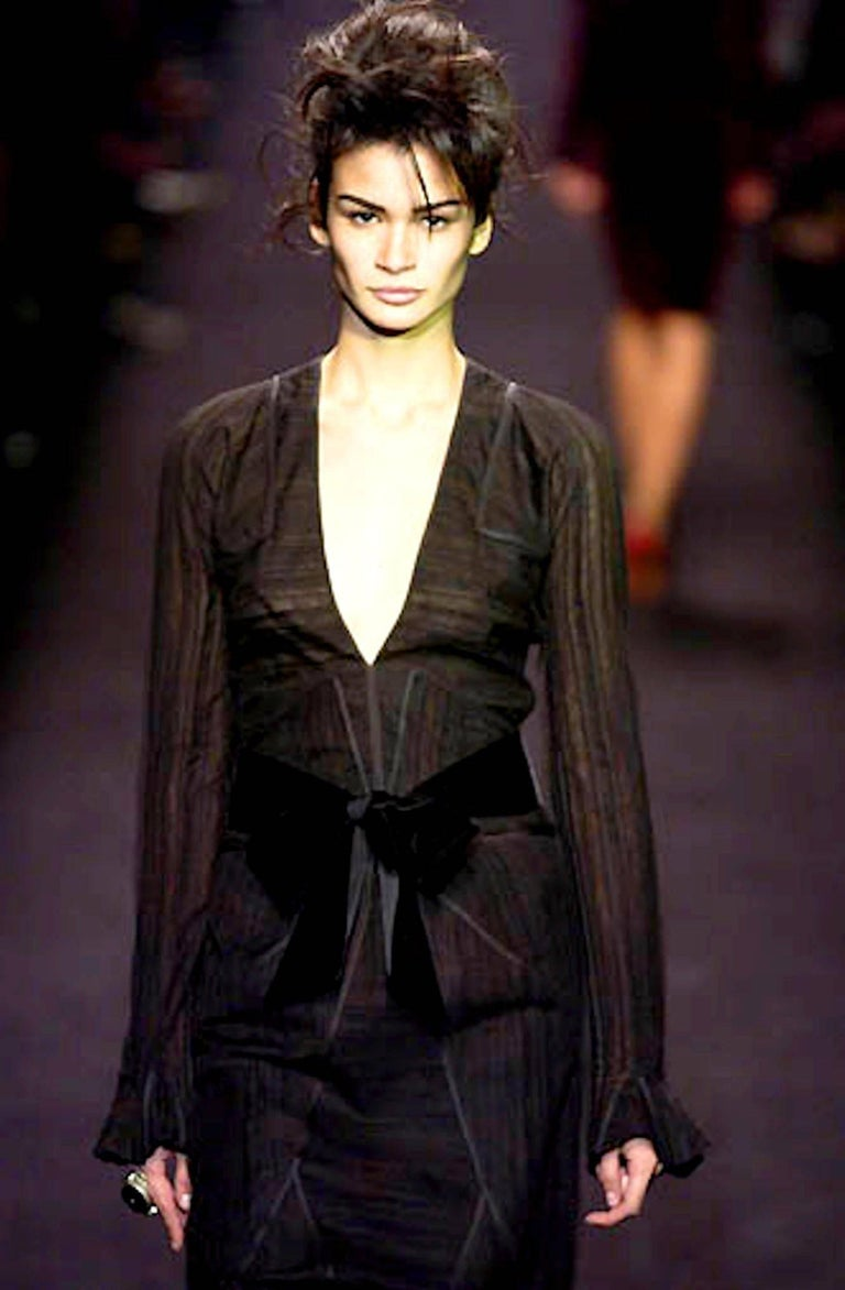 Yves Saint Laurent YSL by Tom Ford 2002 Black Tulle Silk Layer Jacket Top For Sale 5