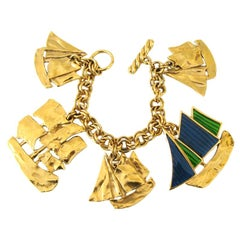 Yves Saint Laurent YSL Charm Bracelet Sailboat Enameled, New Never worn