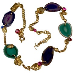 "YVES SAINT LAURENT YSL ""Chyc"" Agate and Nugget Necklace"