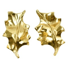 Yves Saint Laurent YSL Clip Earrings Gilt Metal Carved Leaf
