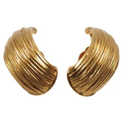 Yves Saint Laurent YSL Clip Earrings Gilt Metal Hoop
