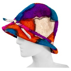 Yves Saint Laurent YSL Color Block Abstract Print Vintage Hat, 1960s