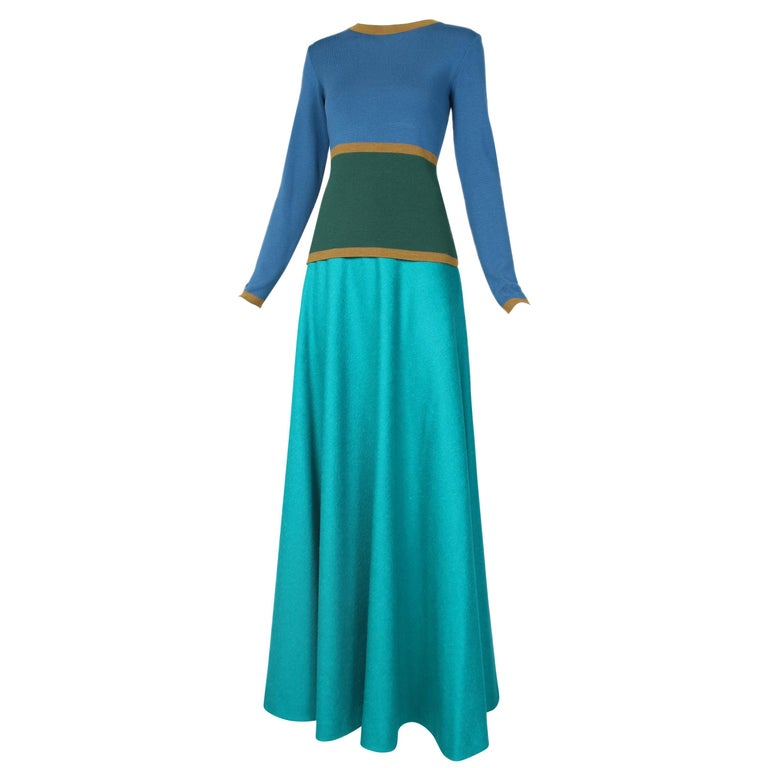 Yves Saint Laurent YSL Colorblocked Sweater & Maxi Skirt Ensemble For Sale