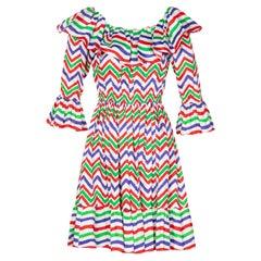 Yves Saint Laurent YSL Cotton Print Flamenco Dress, 1970s