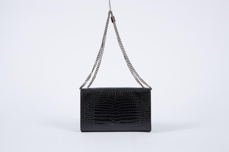 Yves Saint Laurent YSL Crocodile Embossed Black Patent Bag In New Condition For Sale In West Hollywood, CA