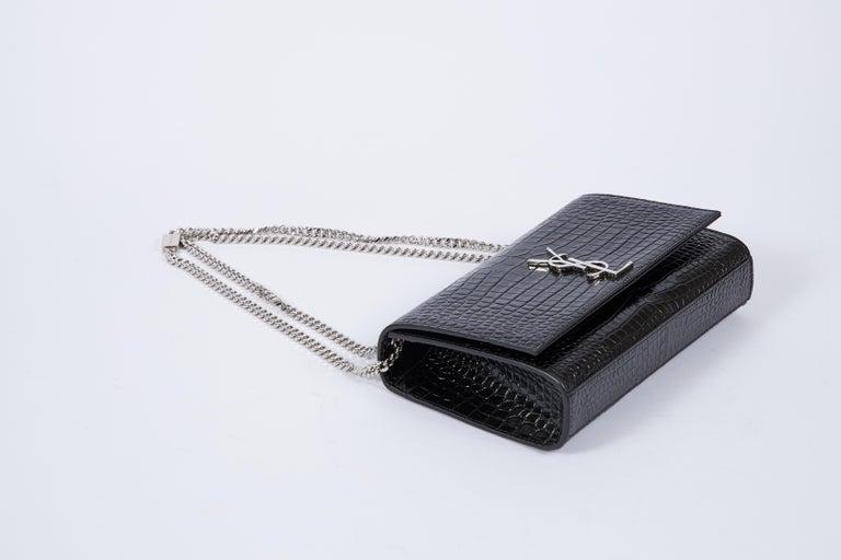 Women's Yves Saint Laurent YSL Crocodile Embossed Black Patent Bag For Sale