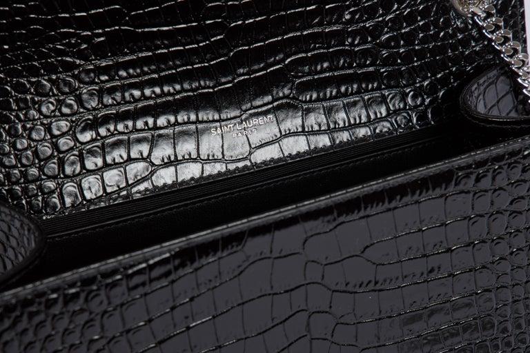 Yves Saint Laurent YSL Crocodile Embossed Black Patent Bag For Sale 1