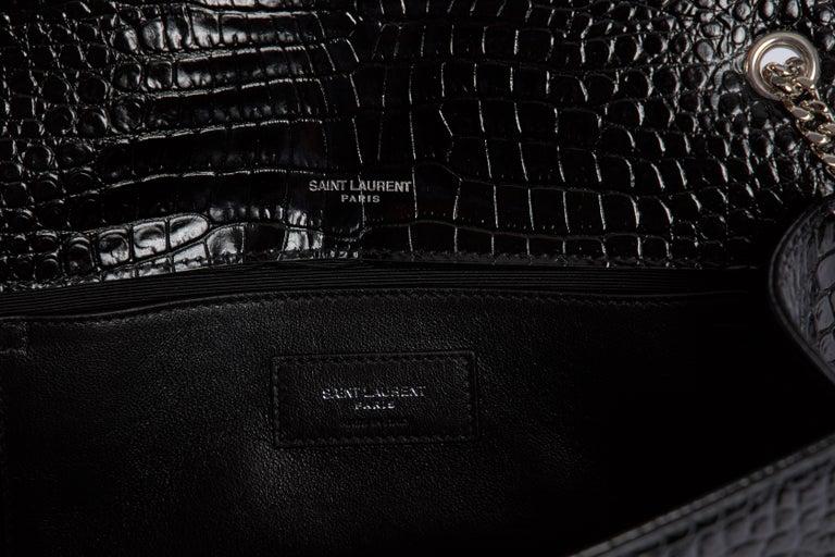 Yves Saint Laurent YSL Crocodile Embossed Black Patent Bag For Sale 2